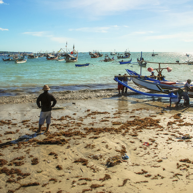 """Fishermen at work in Bali"" stock image"
