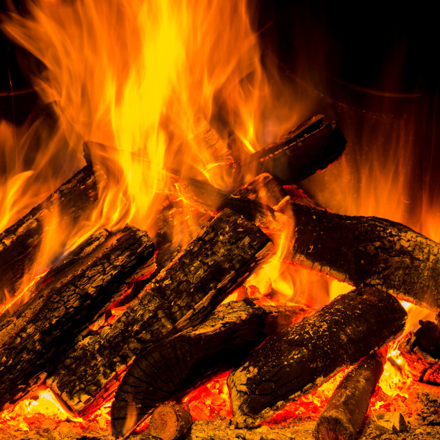 """fireplace with fire"" stock image"