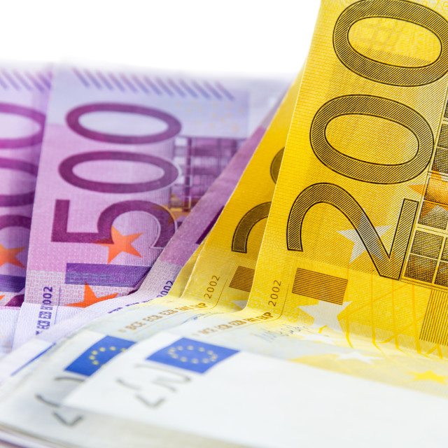 """euro banknote from 200 and 500"" stock image"