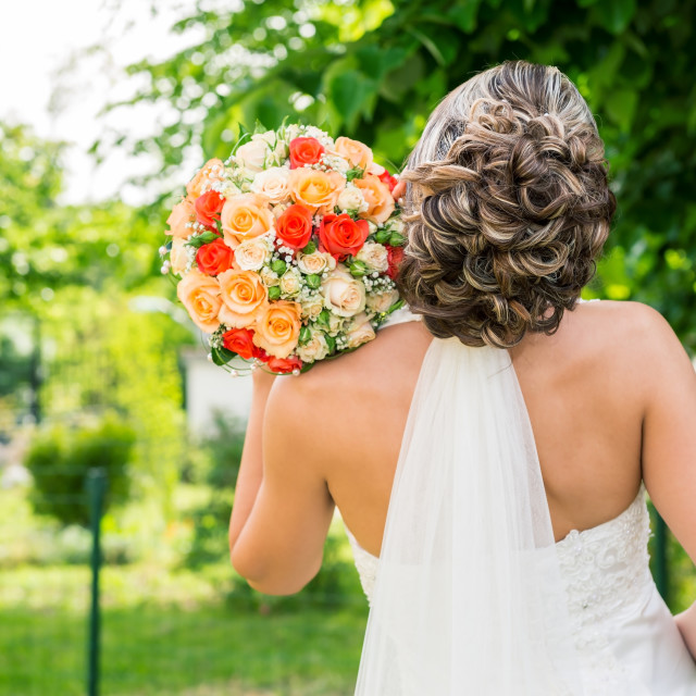 """wedding bouquet in hands of the bride"" stock image"