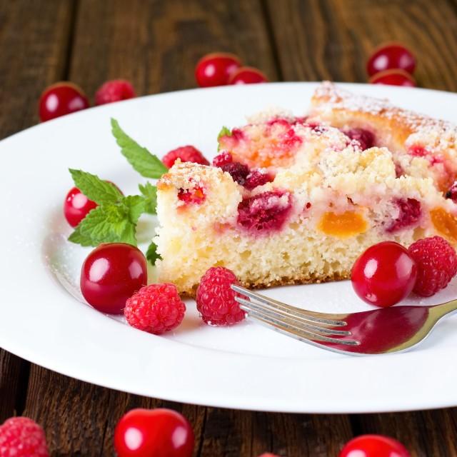 """Fruit pie with cherries and raspberries"" stock image"