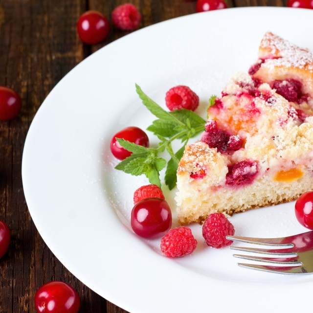 """""""Delicious fruit cake on white plate"""" stock image"""