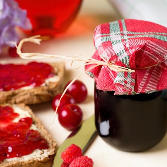 """Single jar with homemade marmalade"" stock image"