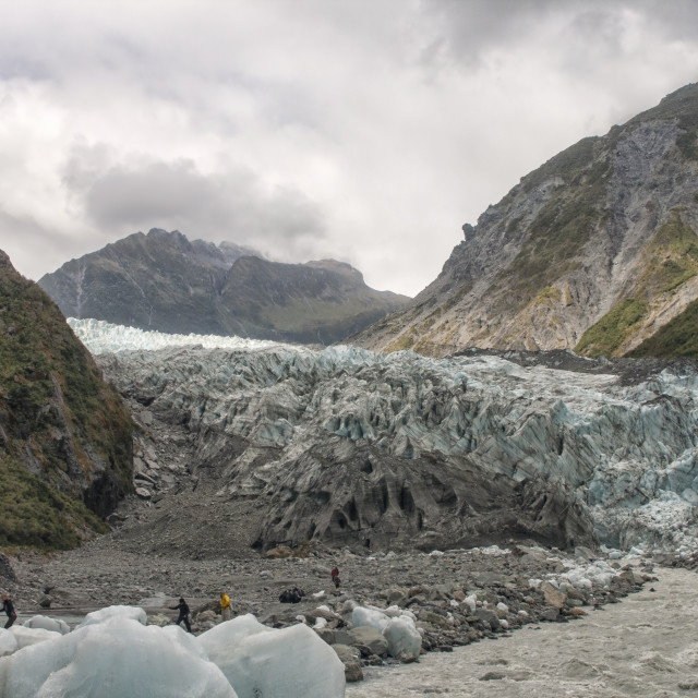 """""""Hikers near the glacier"""" stock image"""