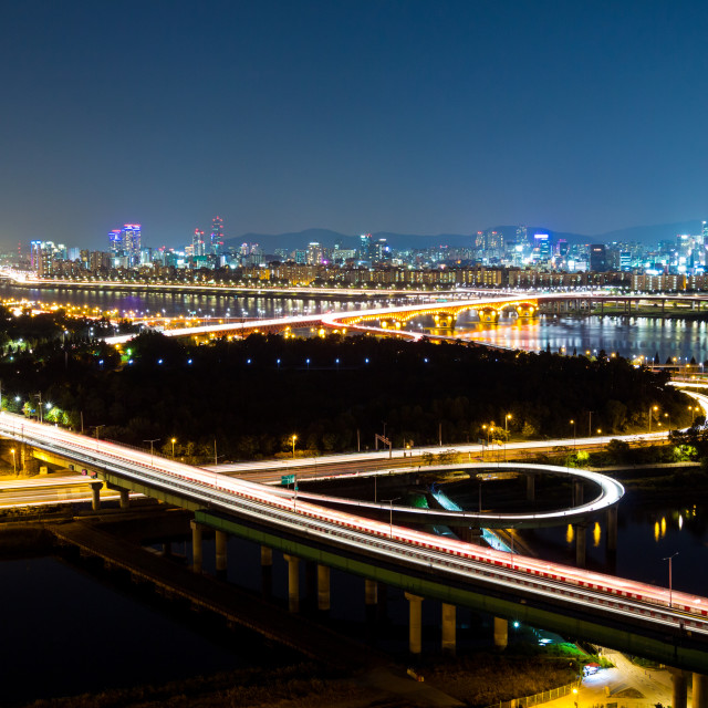 """Expressway in Seoul at night"" stock image"