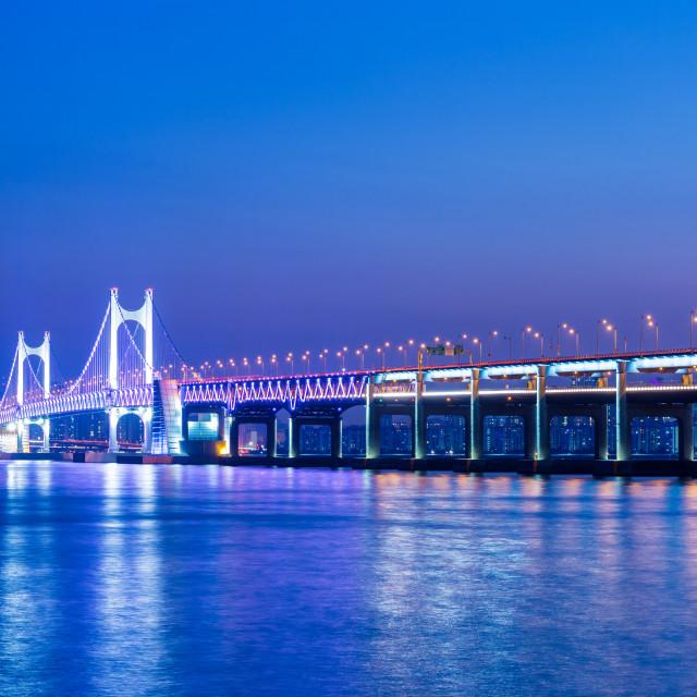 """Busan and suspension bridge"" stock image"