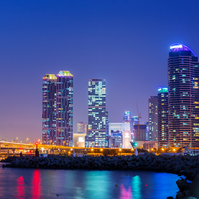 """Busan city at night"" stock image"
