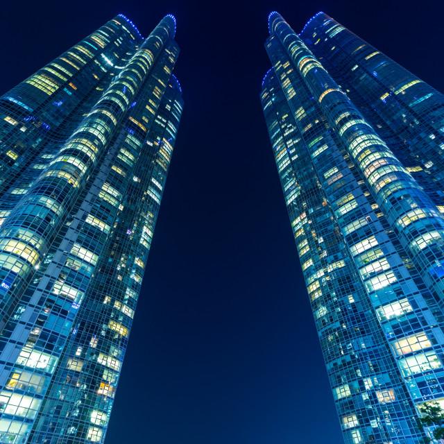 """Modern building in Busan at night"" stock image"