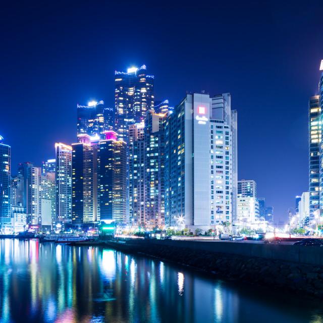 """""""Busan city skyline at night"""" stock image"""