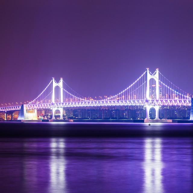 """Busan city with suspension bridge"" stock image"