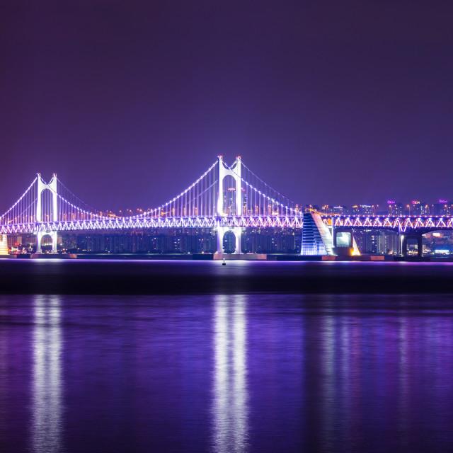 """Suspension bridge in Busan at night"" stock image"