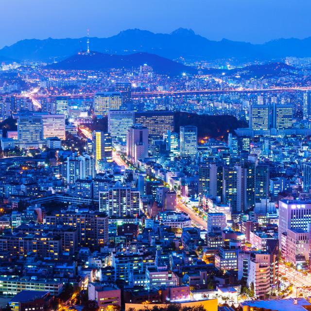"""Seoul cityscape at night"" stock image"