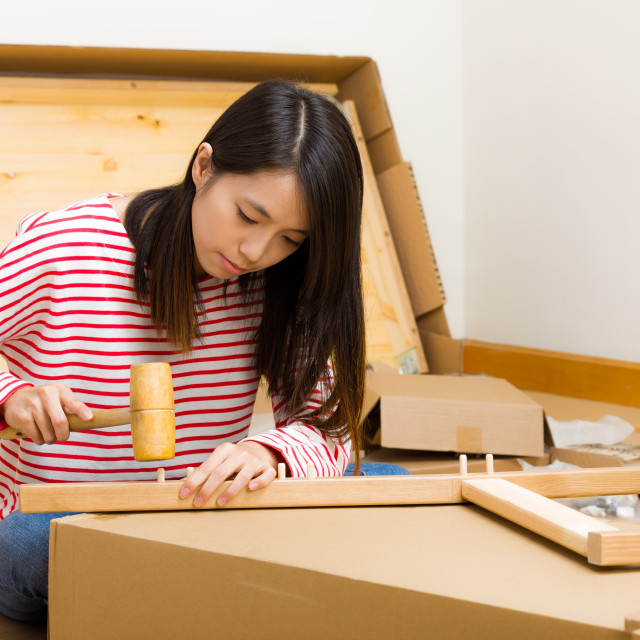 """Asian woman using hammer for furniture assembling"" stock image"