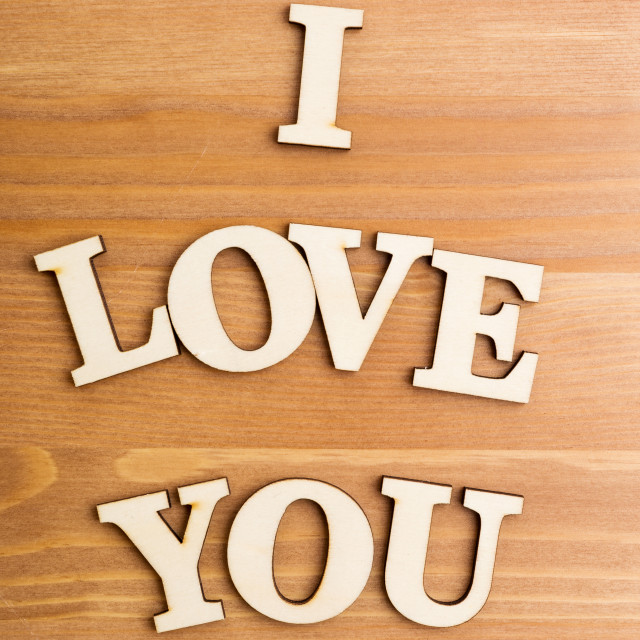 """""""Wooden letters forming phrase I Love You"""" stock image"""