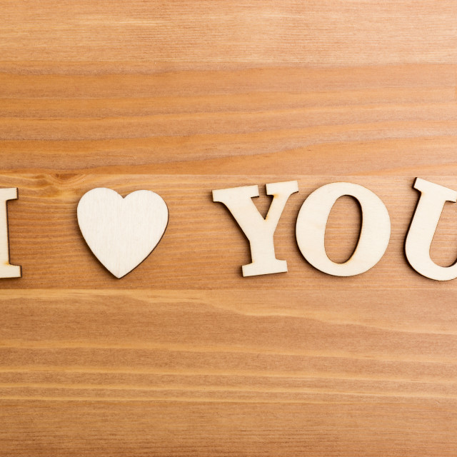 """""""Wooden letters forming with phrase I Love You"""" stock image"""