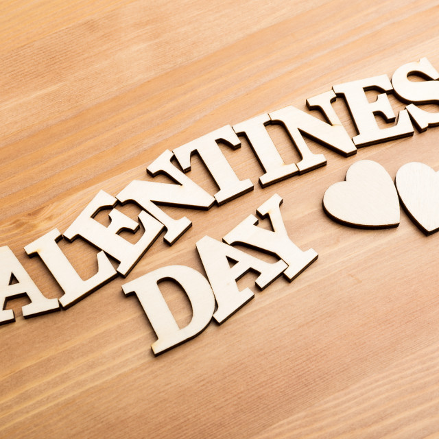 """""""Wooden letters forming phrase Valentines day"""" stock image"""