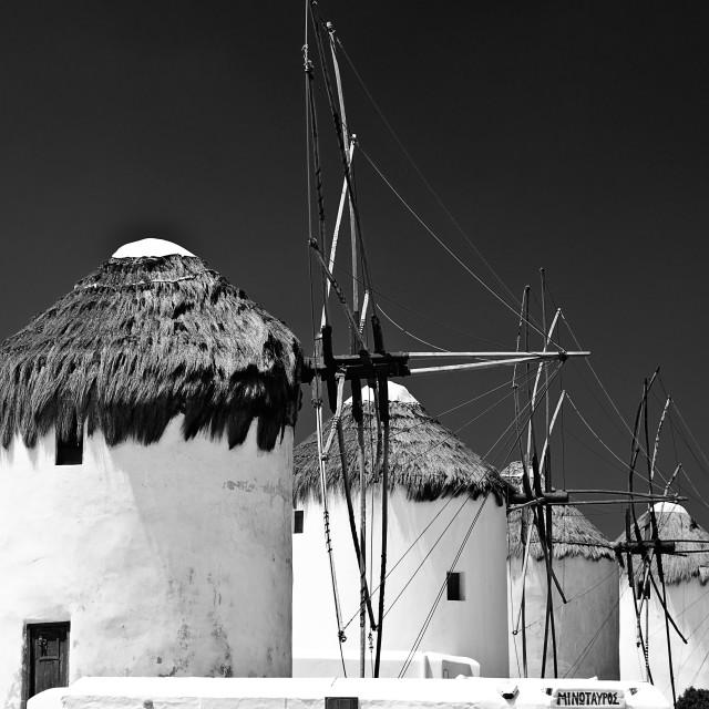 """windmills of Mykonos island in Greece"" stock image"