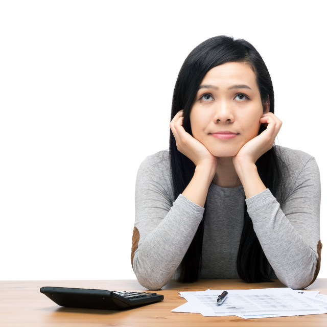 """""""Asia woman worry about expenditure"""" stock image"""
