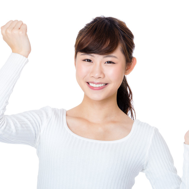 """""""Asia woman cheer up"""" stock image"""
