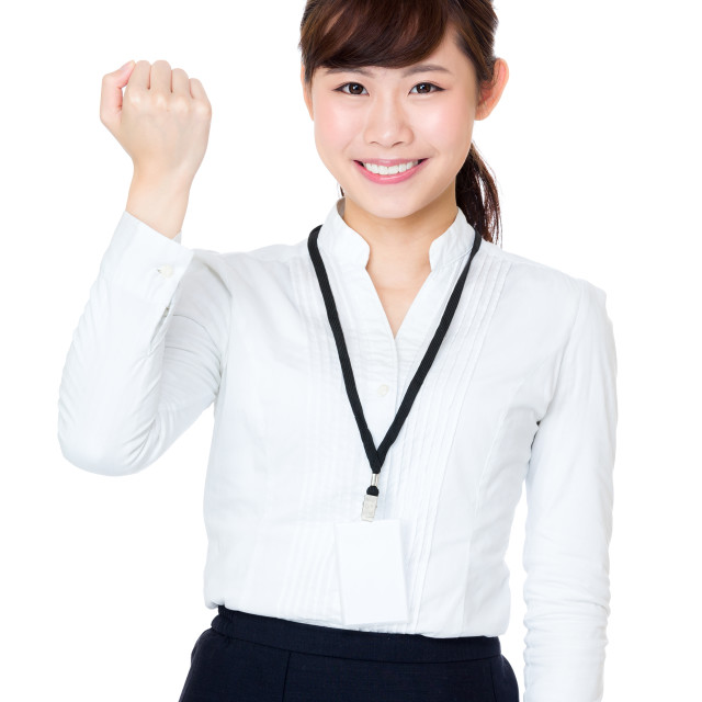"""Cheer up asian business woman"" stock image"