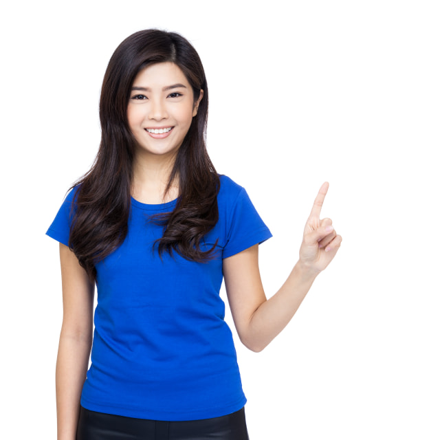 """""""Asia woman finger pointing up"""" stock image"""
