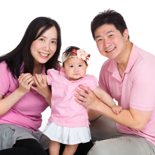 """""""Happy family with baby daughter"""" stock image"""