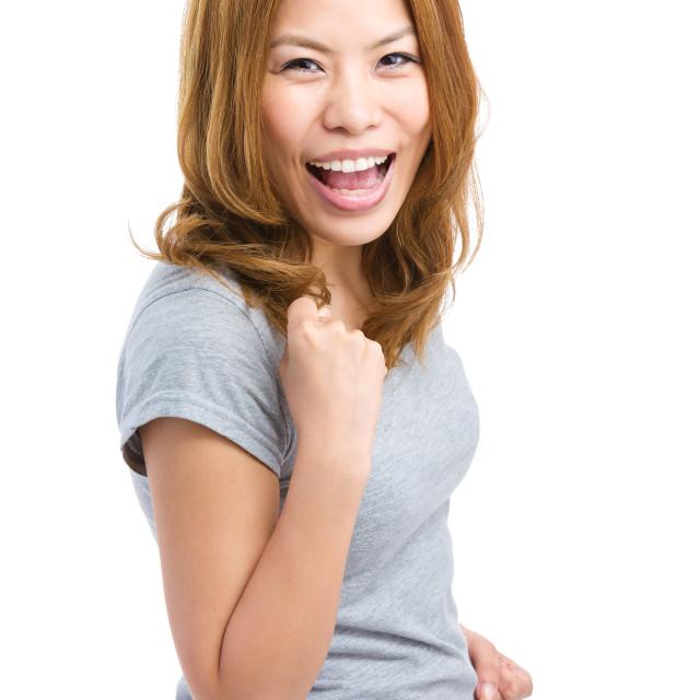 """Asian woman cheer up"" stock image"