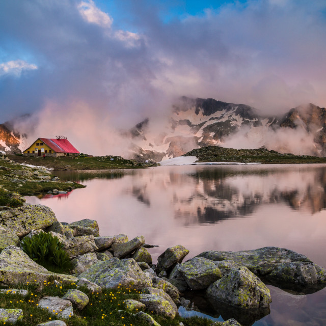 """Mountain lake and clouds"" stock image"