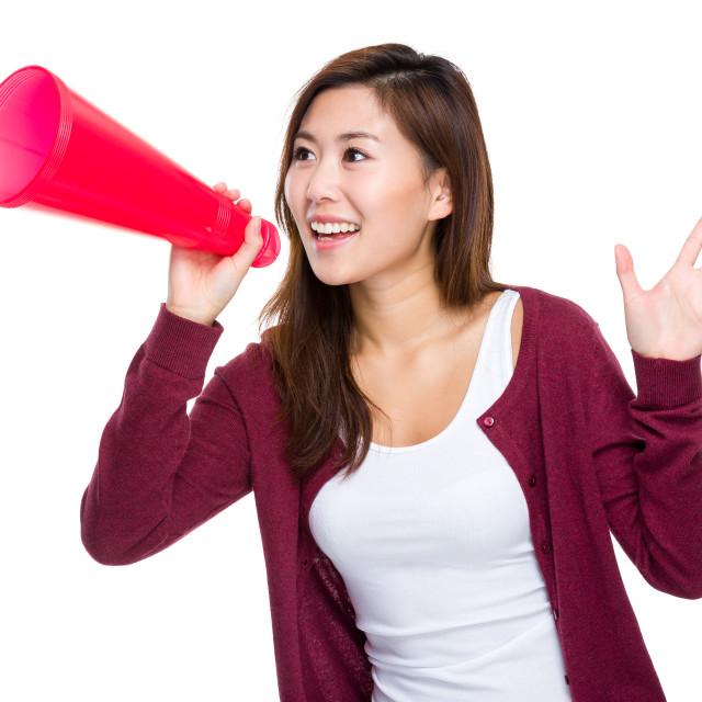 """Woman with loudspeaker"" stock image"