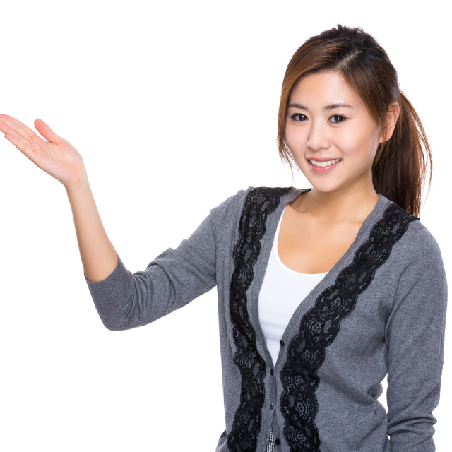 """""""Woman with open hand palm"""" stock image"""