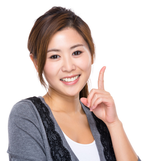 """""""Asian woman with finger point up"""" stock image"""