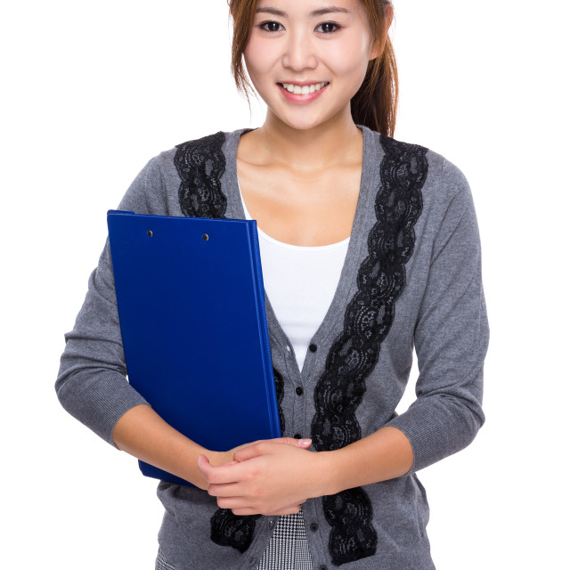 """""""Asian Woman with clipboard"""" stock image"""