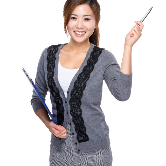 """""""Woman with clipboard and pen point up"""" stock image"""