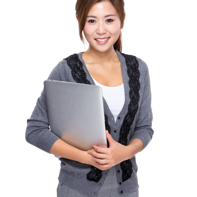 """""""Asian Woman hold with notebook"""" stock image"""