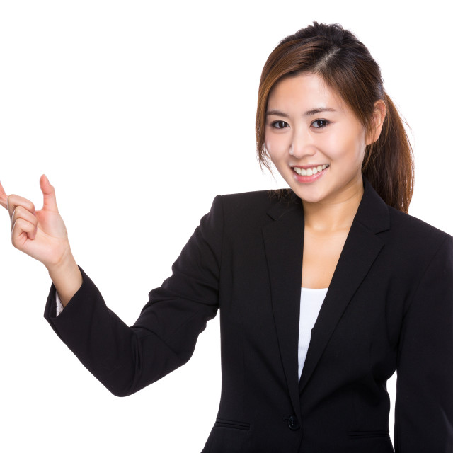 """""""Businesswoman with finger gap for hold small thing"""" stock image"""