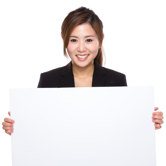 """""""Businesswoman with white banner"""" stock image"""