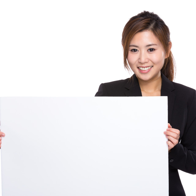 """""""Businesswoman with white poster"""" stock image"""
