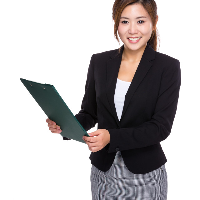 """""""Businesswoman hold with clipboard"""" stock image"""
