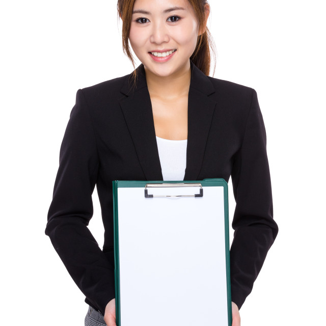"""""""Businesswoman with white paper of clipboard"""" stock image"""