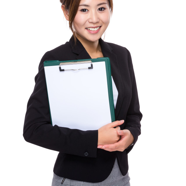 """""""Businesswoman with clipboard and white paper"""" stock image"""