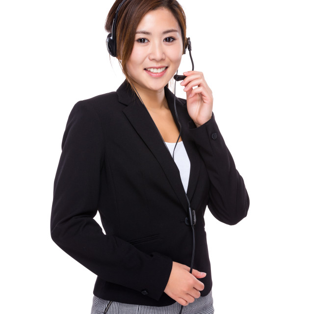 """""""Customer services operator hold with microphone"""" stock image"""