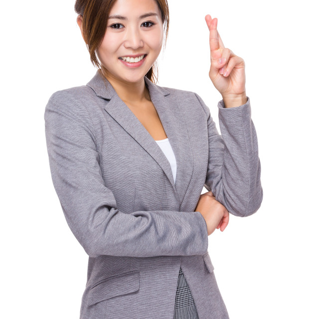 """""""Businesswoman with finger cross"""" stock image"""