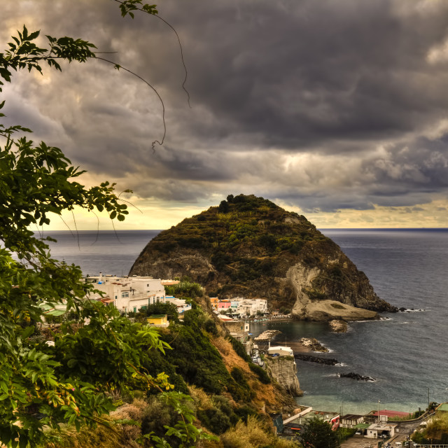"""Ischia island :Santangelo during a storm"" stock image"
