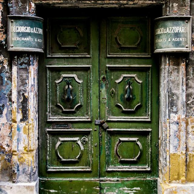 """""""Whats behind the green door?"""" stock image"""
