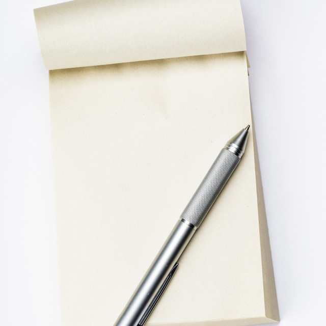 """Blank memo pad with pen"" stock image"