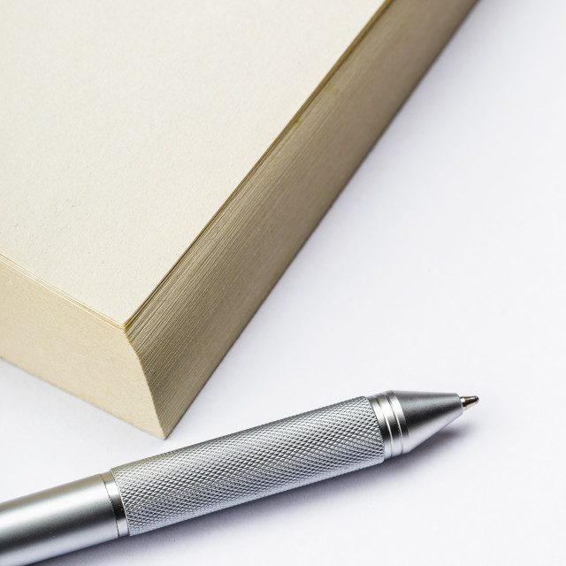 """Memo pad and pen"" stock image"