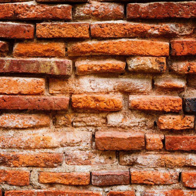 """Detail of ancient brick wall"" stock image"