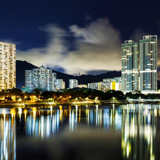 """New territories in Hong Kong at night"" stock image"