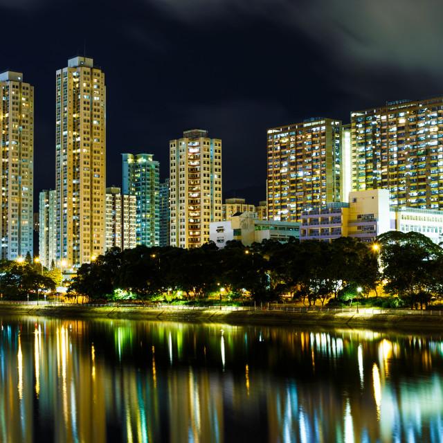 """""""Sha Tin in Hong Kong at night"""" stock image"""