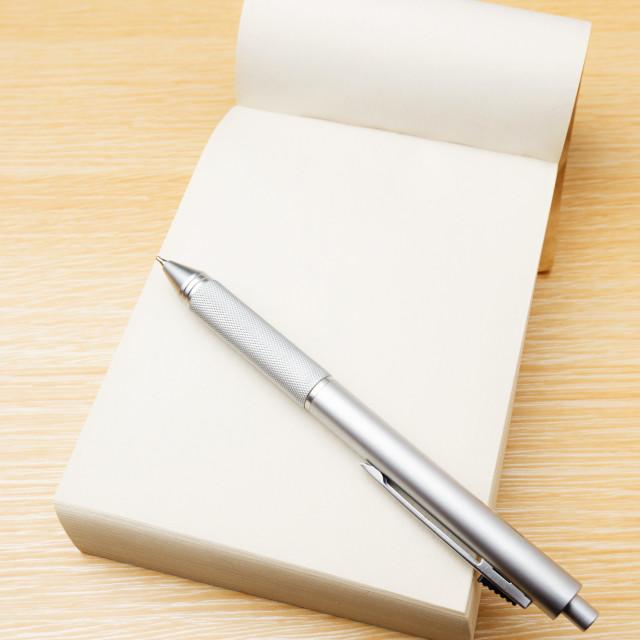 """Memo pad and pen"" stock image"
